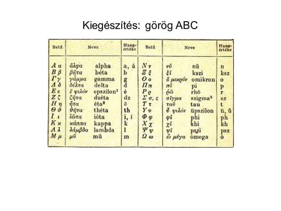 Kiegészítés: görög ABC