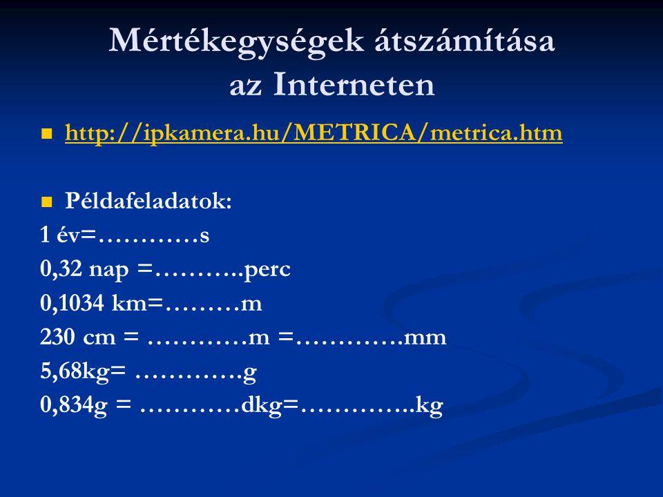 Mértékegységek átszámítása az Interneten