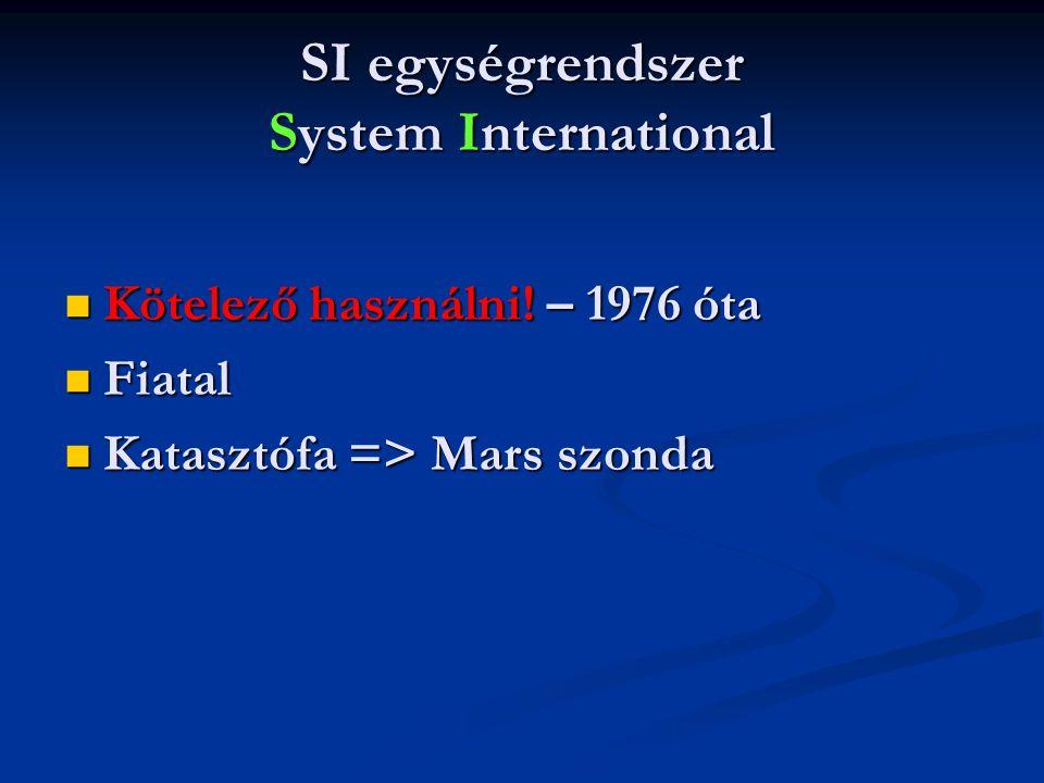 SI egységrendszer System International