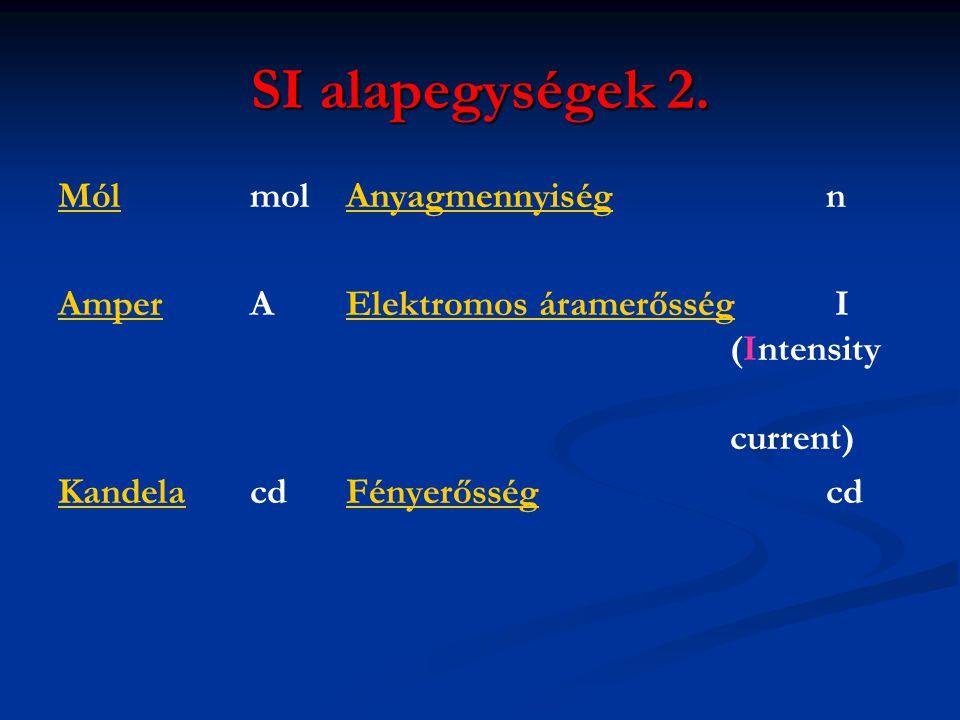 SI alapegységek 2. Mól mol Anyagmennyiség n