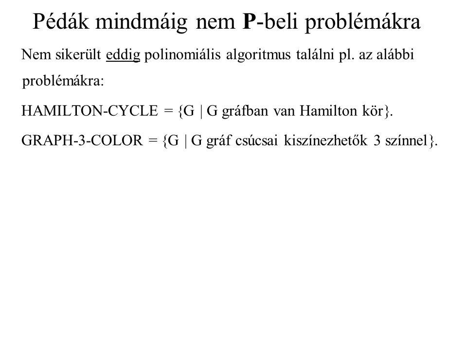 Pédák mindmáig nem P-beli problémákra