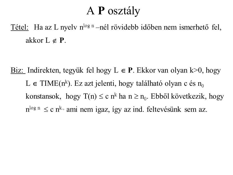 A P osztály Tétel: Ha az L nyelv nlog n –nél rövidebb időben nem ismerhető fel, akkor L  P.