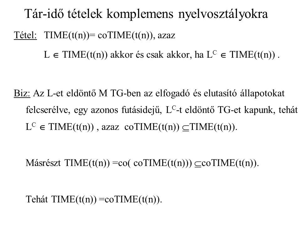 Tár-idő tételek komplemens nyelvosztályokra