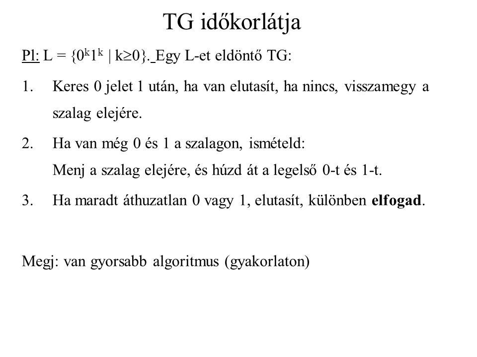TG időkorlátja Pl: L = 0k1k  k0. Egy L-et eldöntő TG: