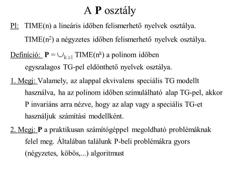 A P osztály Pl: TIME(n) a lineáris időben felismerhető nyelvek osztálya. TIME(n2) a négyzetes időben felismerhető nyelvek osztálya.
