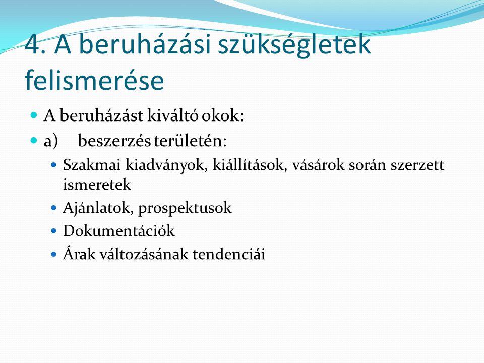 4. A beruházási szükségletek felismerése