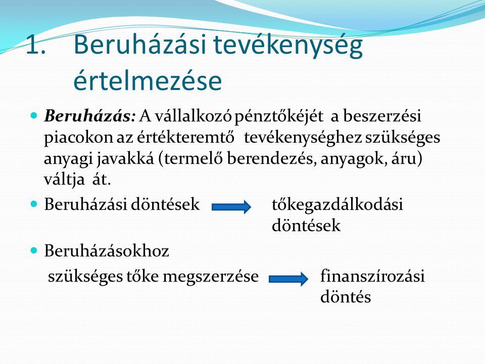 1. Beruházási tevékenység értelmezése