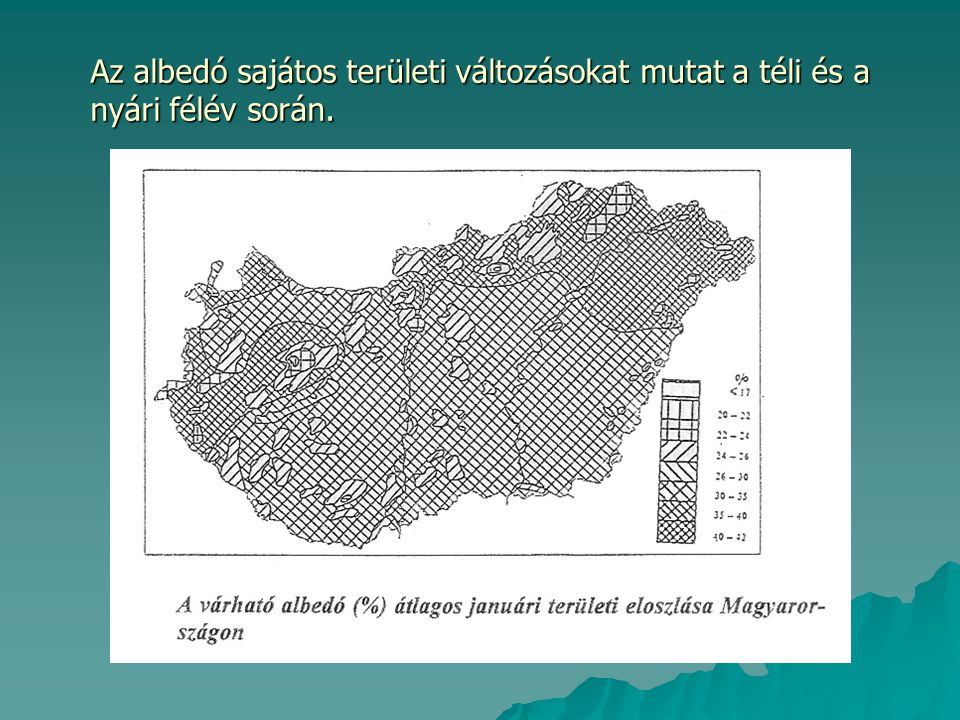 Az albedó sajátos területi változásokat mutat a téli és a nyári félév során.