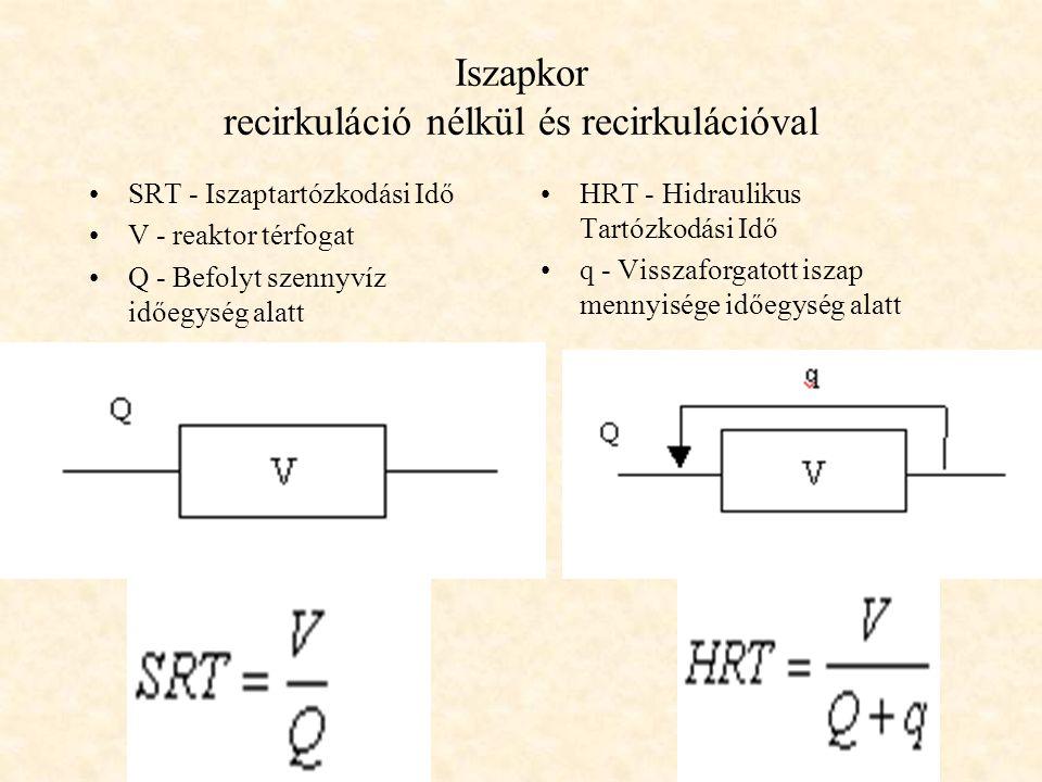 Iszapkor recirkuláció nélkül és recirkulációval
