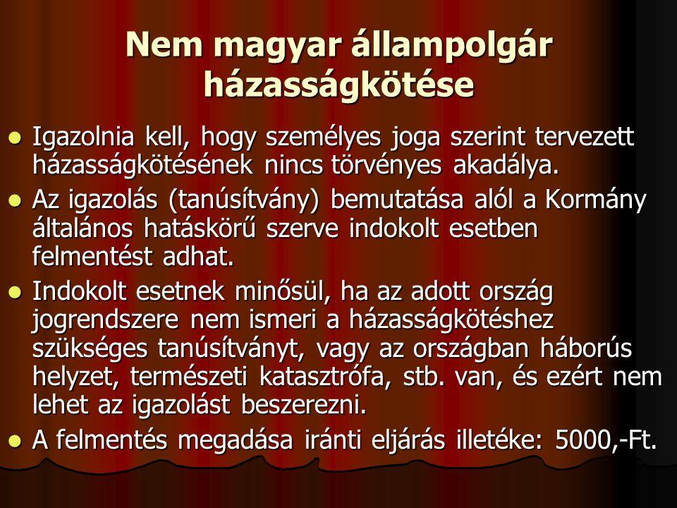 Nem magyar állampolgár házasságkötése
