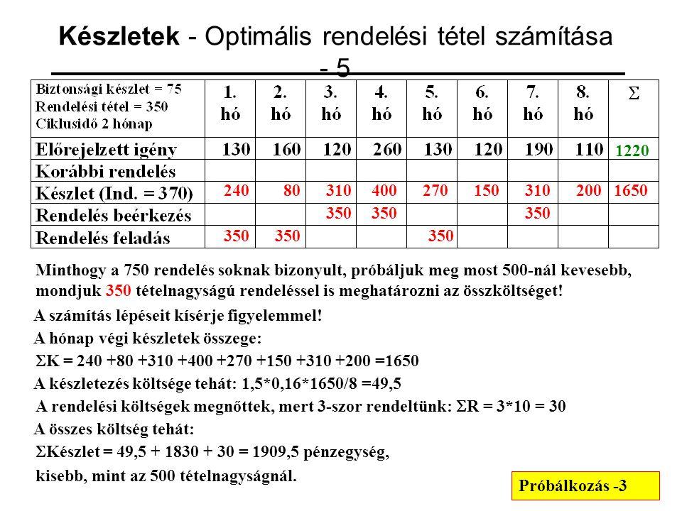 Készletek - Optimális rendelési tétel számítása - 5
