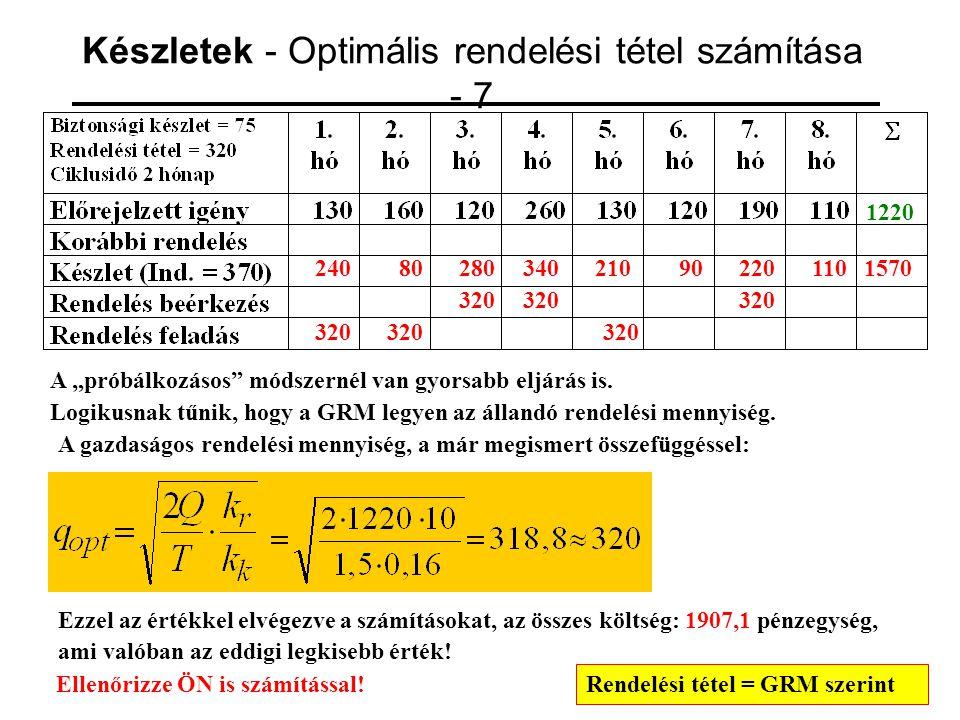 Készletek - Optimális rendelési tétel számítása - 7