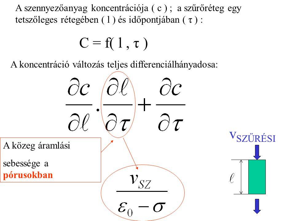 A szennyezőanyag koncentrációja ( c ) ; a szűrőréteg egy tetszőleges rétegében ( l ) és időpontjában ( τ ) :