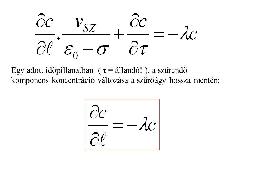 Egy adott időpillanatban ( τ = állandó