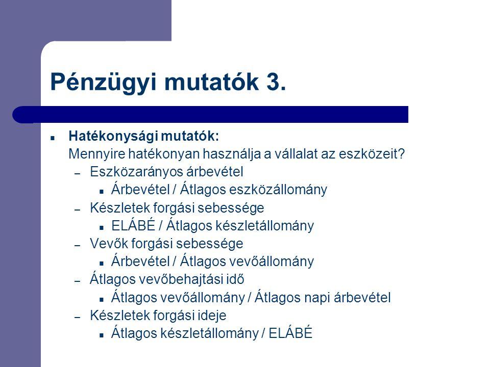 Pénzügyi mutatók 3. Hatékonysági mutatók: