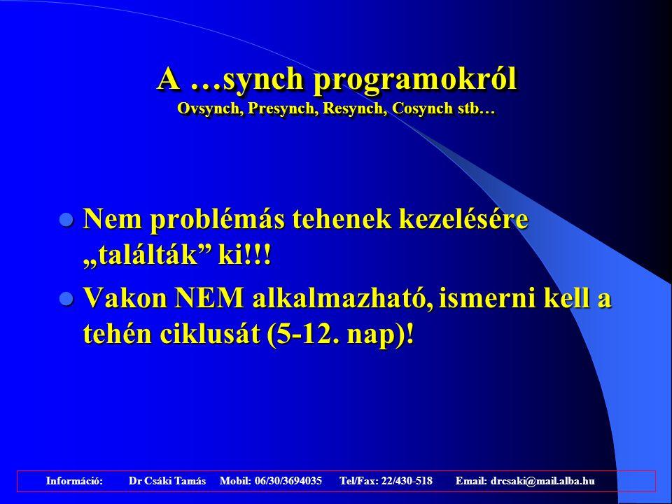 A …synch programokról Ovsynch, Presynch, Resynch, Cosynch stb…