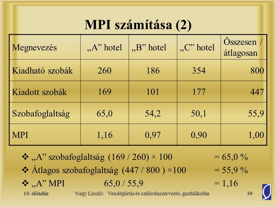 """MPI számítása (2) Megnevezés """"A hotel """"B hotel """"C hotel"""