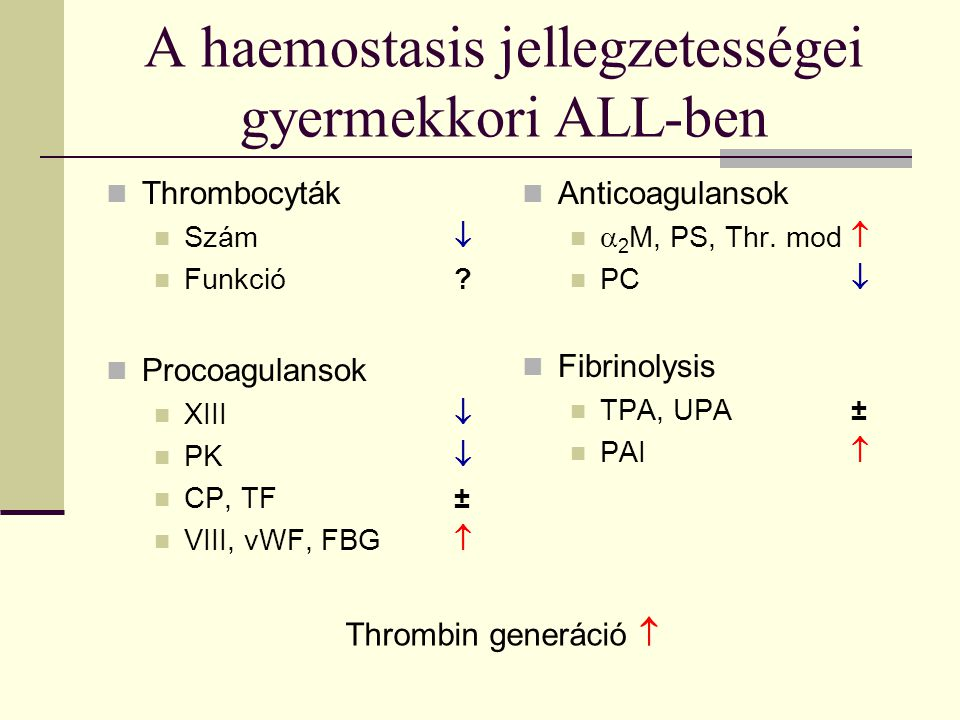 A haemostasis jellegzetességei gyermekkori ALL-ben