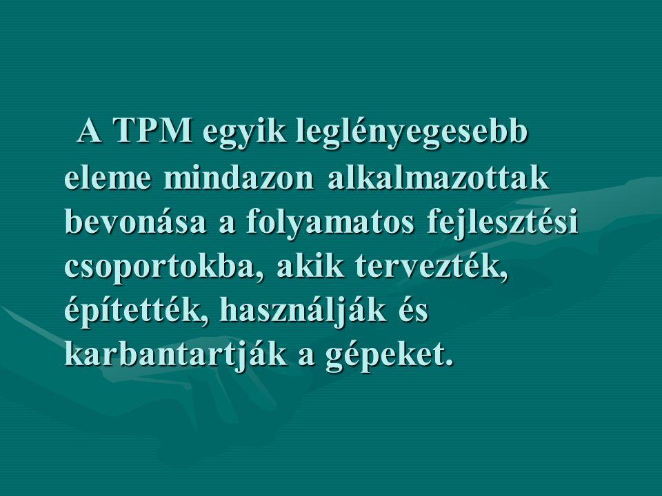 A TPM egyik leglényegesebb eleme mindazon alkalmazottak bevonása a folyamatos fejlesztési csoportokba, akik tervezték, építették, használják és karbantartják a gépeket.