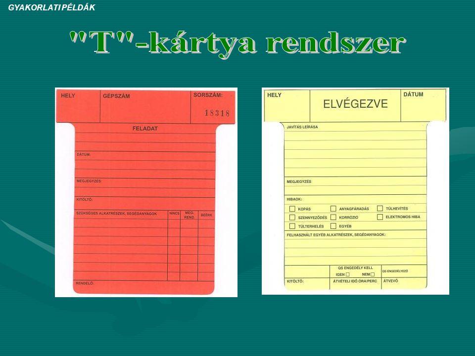 GYAKORLATI PÉLDÁK T -kártya rendszer 9
