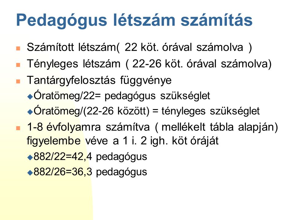 Pedagógus létszám számítás