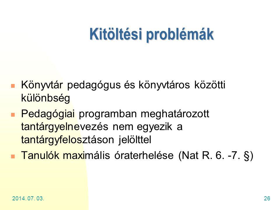 Kitöltési problémák Könyvtár pedagógus és könyvtáros közötti különbség