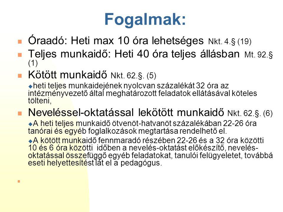 Fogalmak: Óraadó: Heti max 10 óra lehetséges Nkt. 4.§ (19)