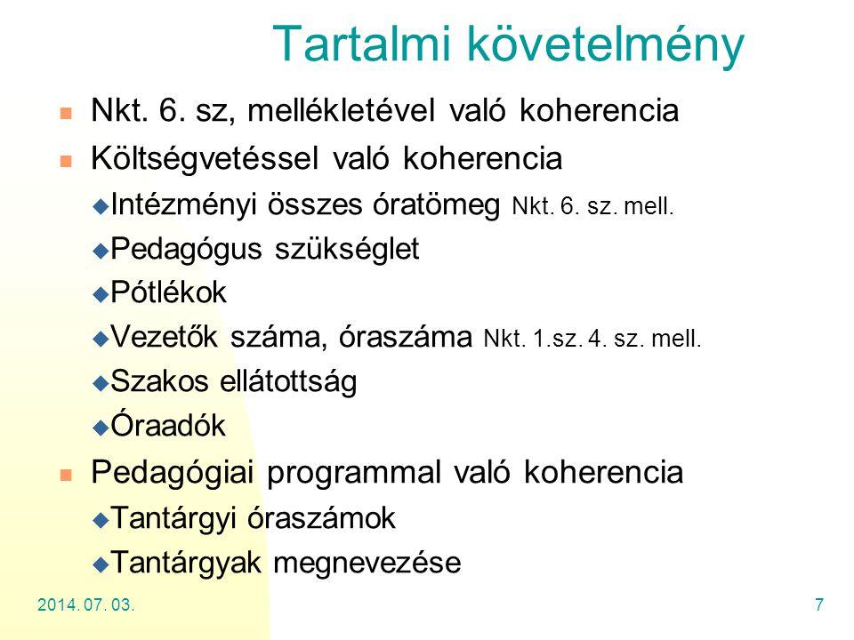 Tartalmi követelmény Nkt. 6. sz, mellékletével való koherencia