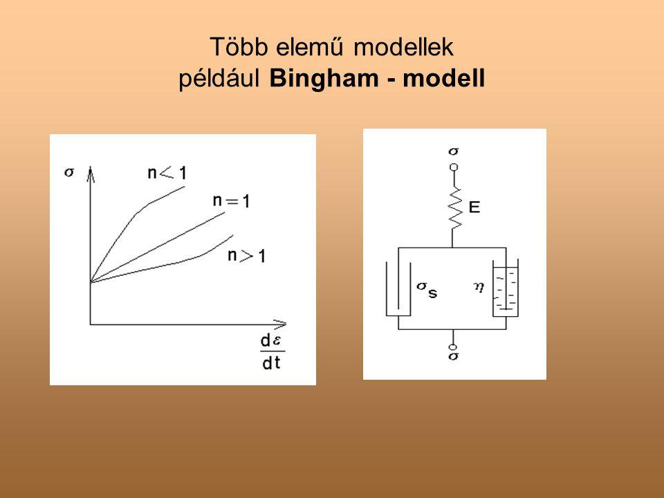 Több elemű modellek például Bingham - modell