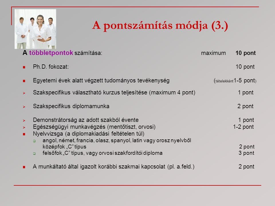 A pontszámítás módja (3.)