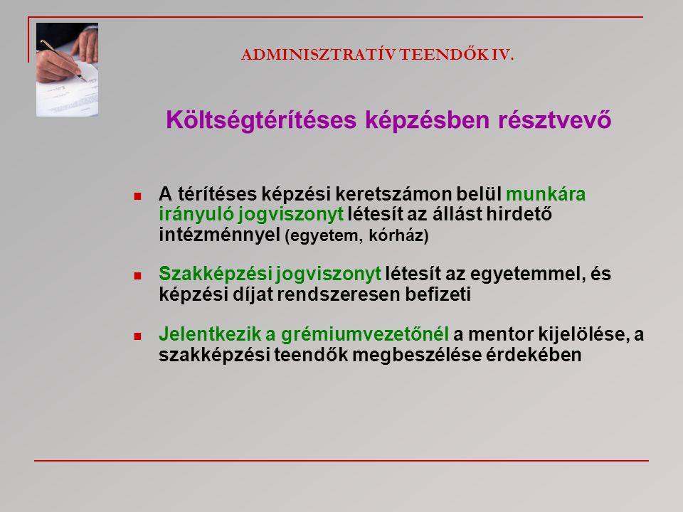 ADMINISZTRATÍV TEENDŐK IV.