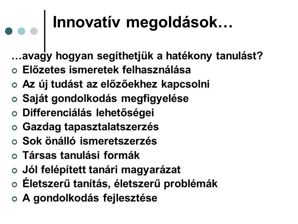 Innovatív megoldások…
