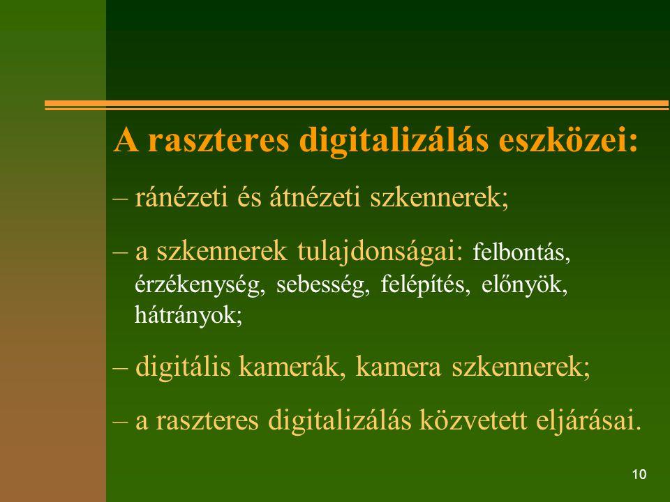 A raszteres digitalizálás eszközei: