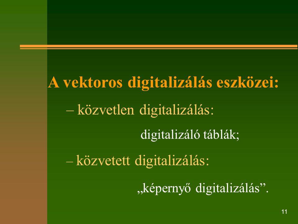 A vektoros digitalizálás eszközei: