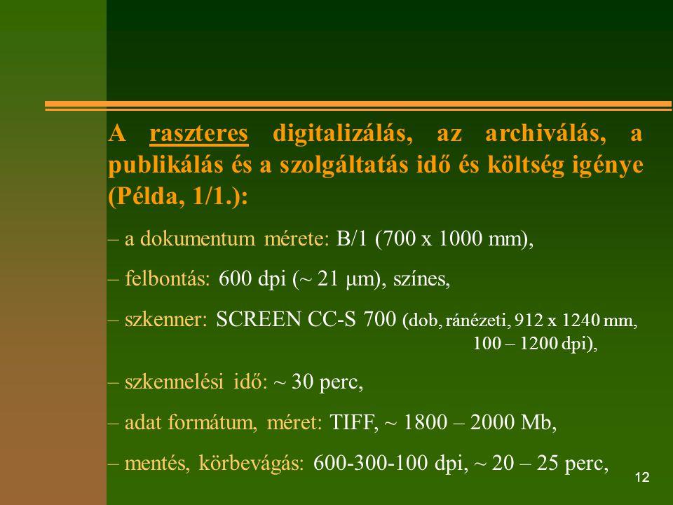 A raszteres digitalizálás, az archiválás, a publikálás és a szolgáltatás idő és költség igénye (Példa, 1/1.):
