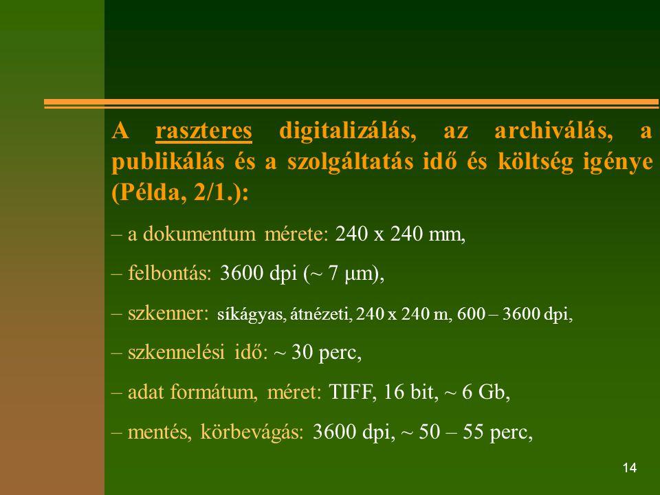 A raszteres digitalizálás, az archiválás, a publikálás és a szolgáltatás idő és költség igénye (Példa, 2/1.):