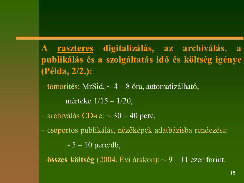 A raszteres digitalizálás, az archiválás, a publikálás és a szolgáltatás idő és költség igénye (Példa, 2/2.):