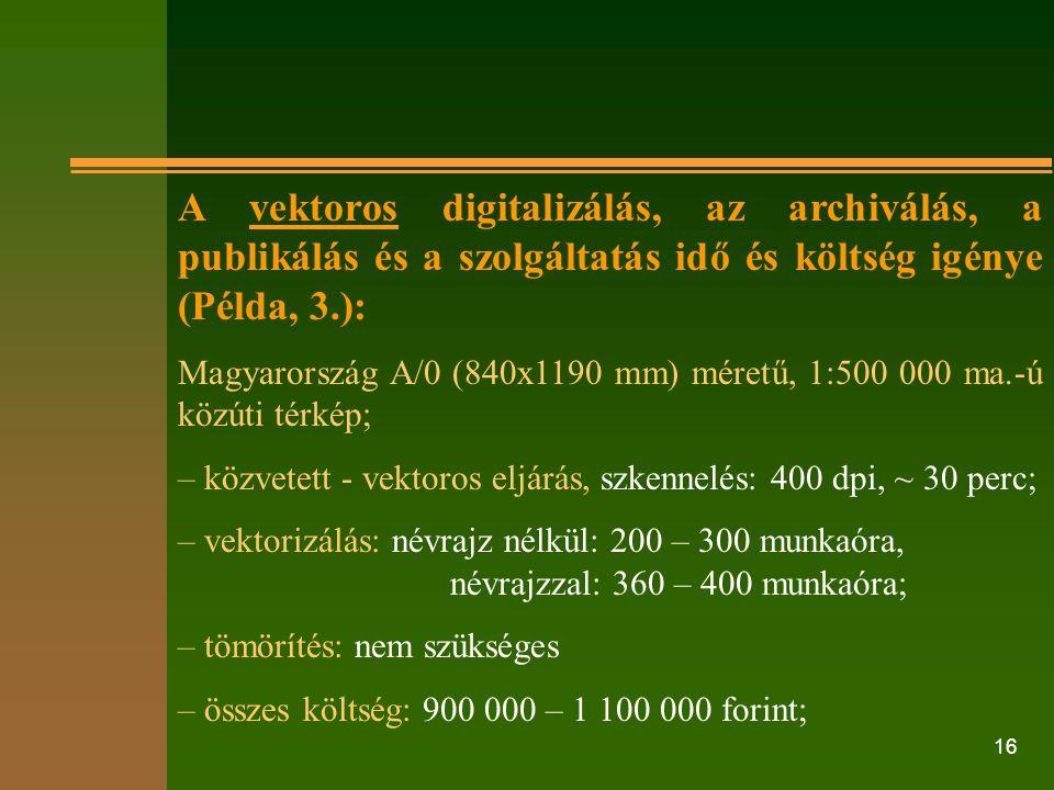 A vektoros digitalizálás, az archiválás, a publikálás és a szolgáltatás idő és költség igénye (Példa, 3.):