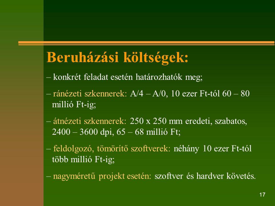 Beruházási költségek: