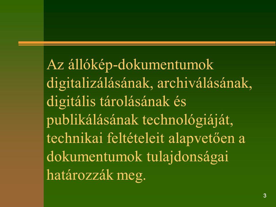 Az állókép-dokumentumok digitalizálásának, archiválásának, digitális tárolásának és publikálásának technológiáját, technikai feltételeit alapvetően a dokumentumok tulajdonságai határozzák meg.