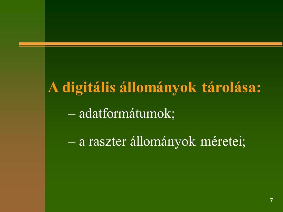 A digitális állományok tárolása: