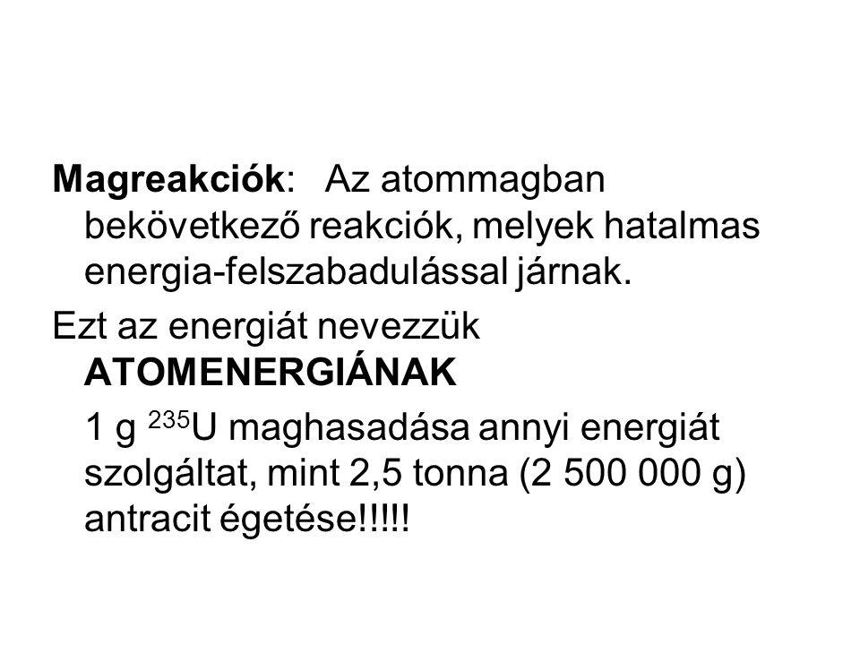 Magreakciók: Az atommagban bekövetkező reakciók, melyek hatalmas energia-felszabadulással járnak.