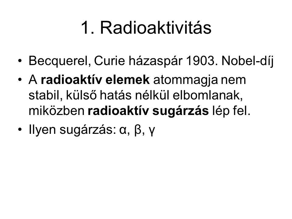 1. Radioaktivitás Becquerel, Curie házaspár 1903. Nobel-díj