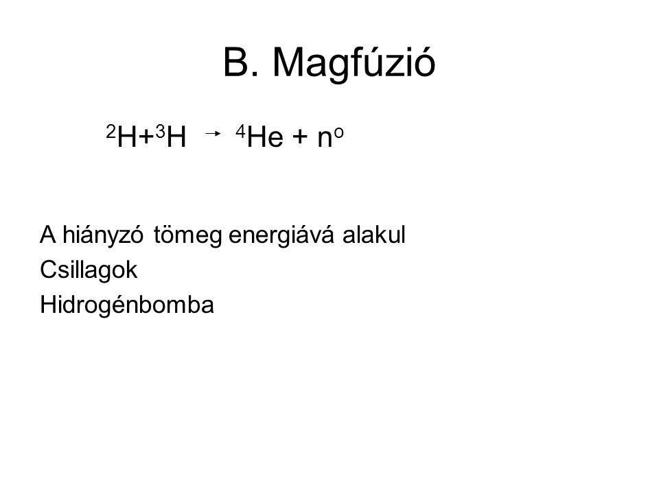B. Magfúzió A hiányzó tömeg energiává alakul Csillagok Hidrogénbomba