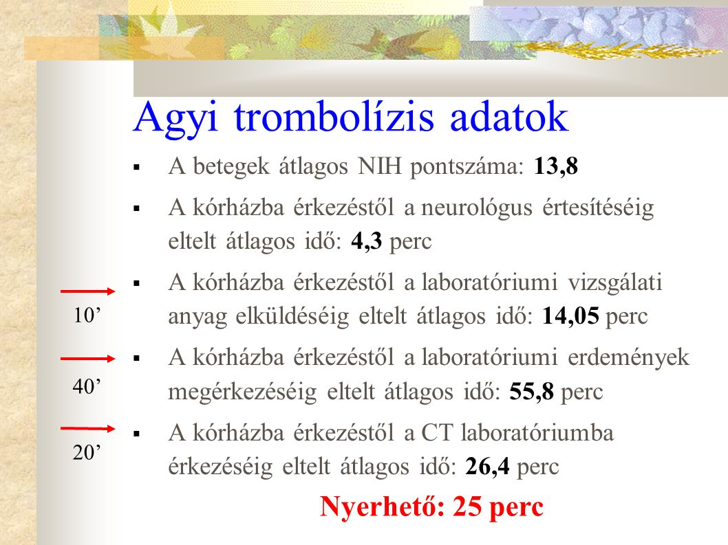 Agyi trombolízis adatok