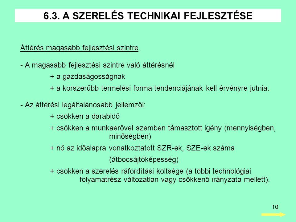 6.3. A SZERELÉS TECHNIKAI FEJLESZTÉSE