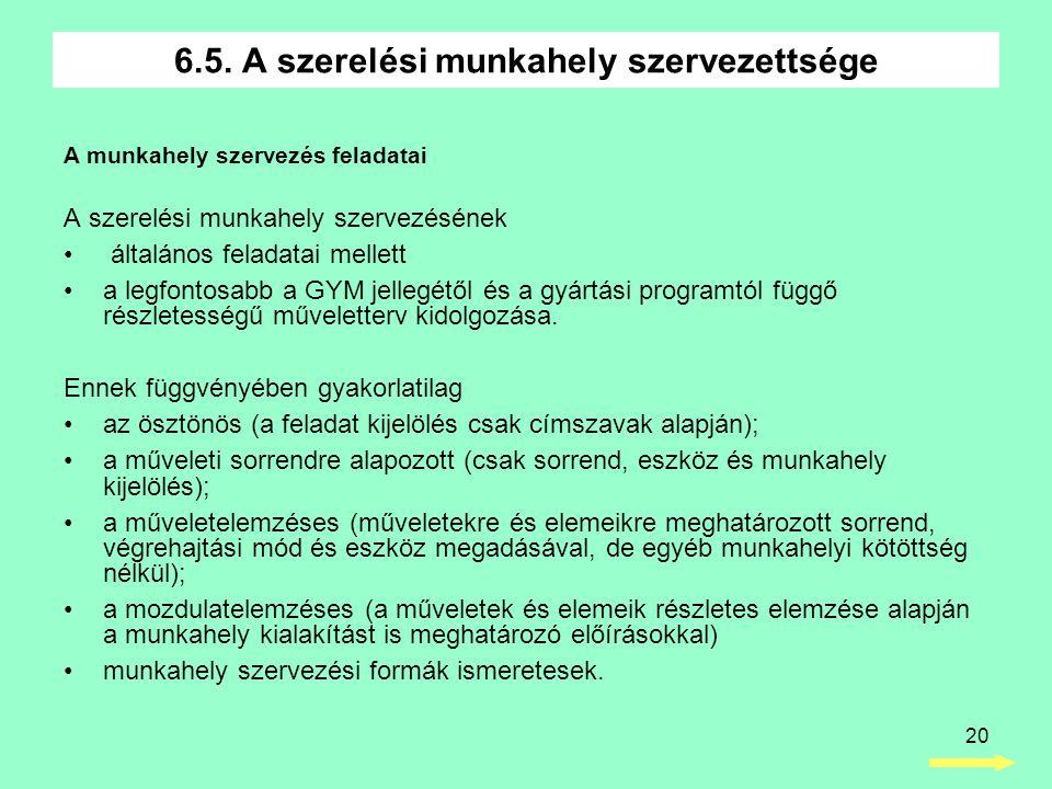 6.5. A szerelési munkahely szervezettsége