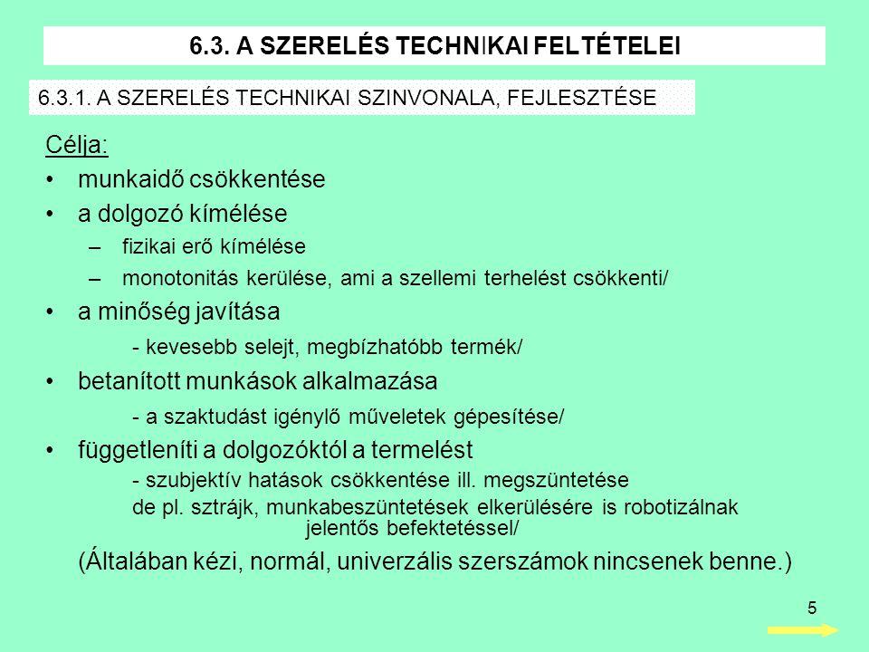 6.3. A SZERELÉS TECHNIKAI FELTÉTELEI