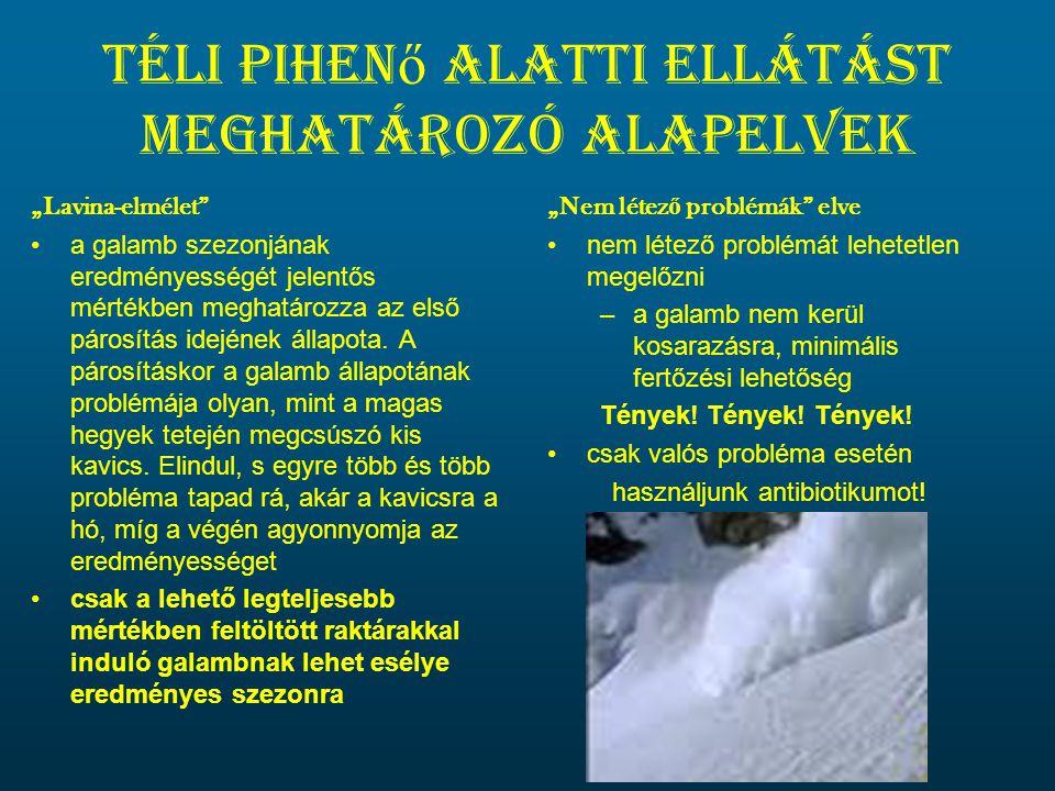 Téli pihenő alatti ellátást meghatározó alapelvek