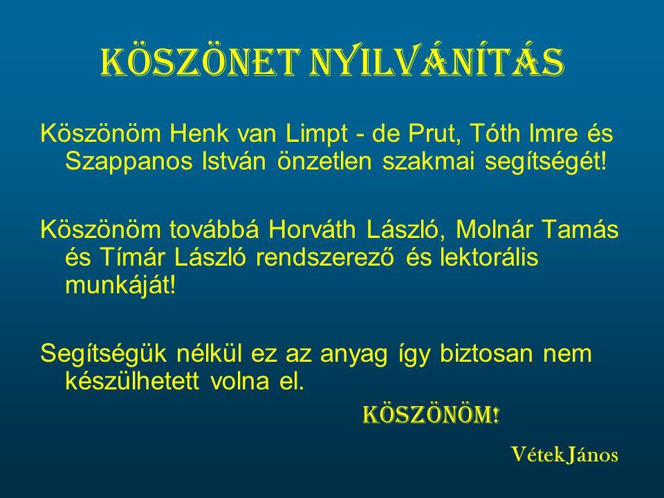 Köszönet nyilvánítás Köszönöm Henk van Limpt - de Prut, Tóth Imre és Szappanos István önzetlen szakmai segítségét!